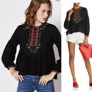 Joie Ghita Embroidered Gathered Long Sleeve Top